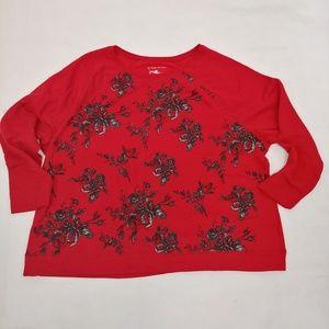 Cute Raglan Sweater Roses Red 5x PLus Size